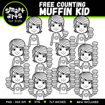 FREE Counting Muffin Kid Clip Art
