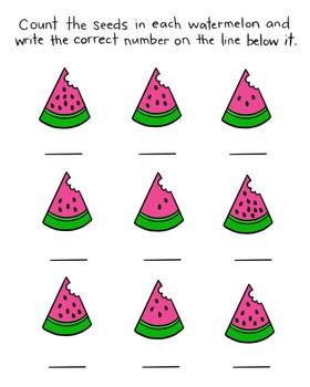 FREE Counting Watermelon Seeds worksheet