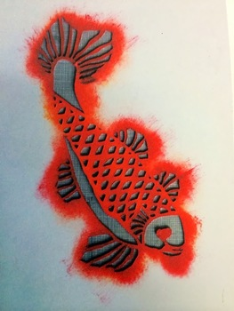 FREE Coy/Koi Fish Art Template for Stencilling/Print Making