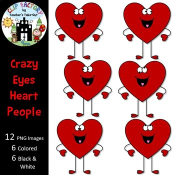 FREE Crazy Eyes Heart People Clip Art