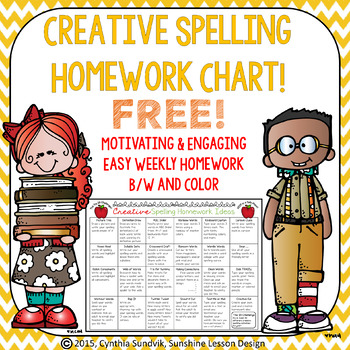FREE Creative Spelling Homework Ideas! Color and B/W! Student Chart!