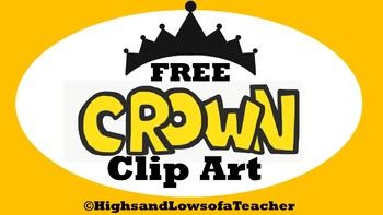 FREE Crown Clip Art in Black, Yellow, and Pink
