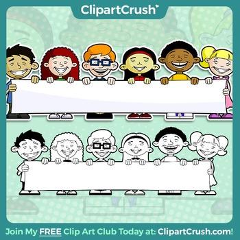 Royalty Free Cultural Cartoon Kids Holding a Blank Banner  - Enjoy!