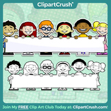 Royalty Free Cultural Cartoon Kids Holding a Blank Banner