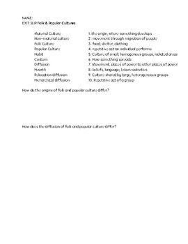 FREE Culture Worksheet
