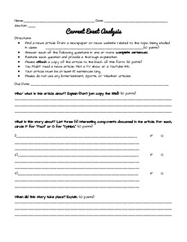 FREE- Current Event Analysis Worksheet