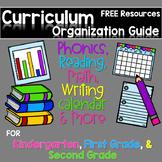 FREE Curriculum Map for Kindergarten , First Grade, and Second Grade