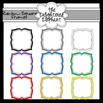 FREE Curvy Rainbow Square Frames Clip Art