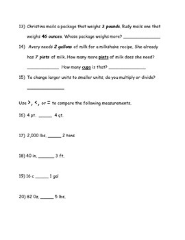 FREE Quiz/Test/Review Customary Measurements Practice- Length, Capacity, Weight