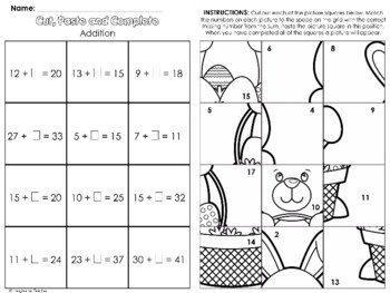 FREE Cut, Paste and Complete - Easter Addends