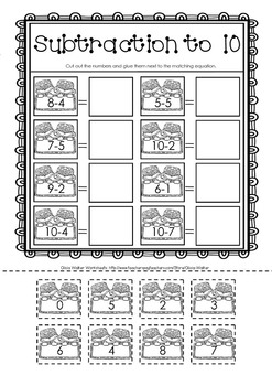 Cut and Paste Subtraction to 10 - Subtraction to Ten Worksheets - FREE