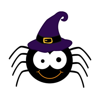 FREE Cute Halloween Spider with Witch Hat Clip Art by ...