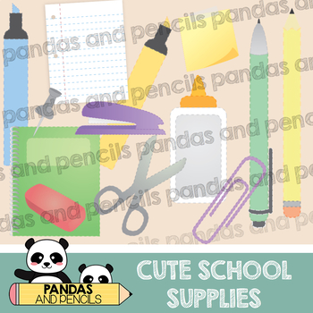 FREE: Cute school supplies clip art by Pandas and Pencils   TpT