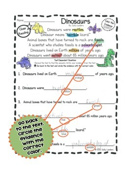 FREE Cuttin' It Close! DINOSAURS Close Reading Pack {Kindergarten, 1st & 2nd}