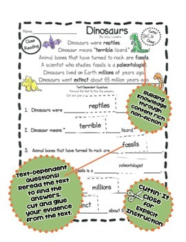 FREE Cuttin' It Close! DINOSAURS Close Reading Pack {Kindergarten, 1st & 2nd}