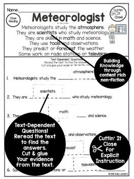 FREE Cuttin' It Close! WEATHER Close Reading ~ Meteorologist {K, 1st, 2nd & 3rd}
