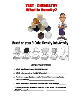 13-PAGE DENSITY TEST  . . . Goes with 9-cube DENSITY LAB & MYSTERY TOWER LAB