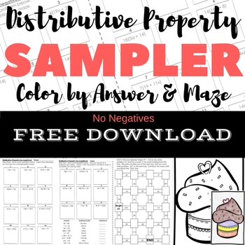 FREE DOWNLOAD Distributive Property No Negs Color by Answer & Maze Sampler