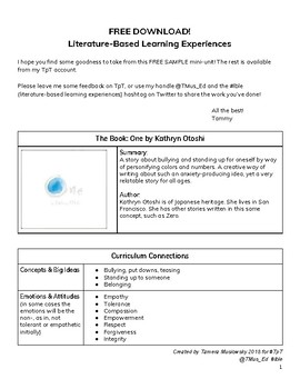 FREE DOWNLOAD - Literature-Based Learning Experiences (One by Otoshi)