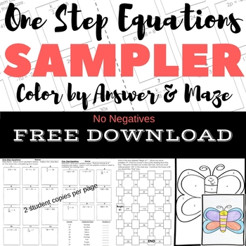 FREE DOWNLOAD One Step Equations No Negs Color by Number & Maze Sampler