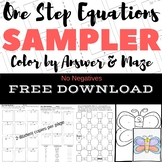 FREE DOWNLOAD One Step Equations No Negs Color by Number &