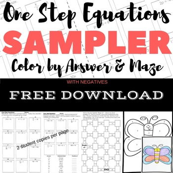 FREE DOWNLOAD One Step Equations WITH Negs Color by Number & Maze Sampler
