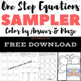 FREE DOWNLOAD One Step Equations WITH Negs Color by Number