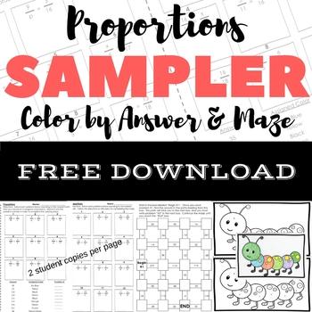 FREE DOWNLOAD Proportions Color by Number & Maze Sampler