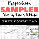 FREE DOWNLOAD Proportions Color by Answer & Maze Sampler