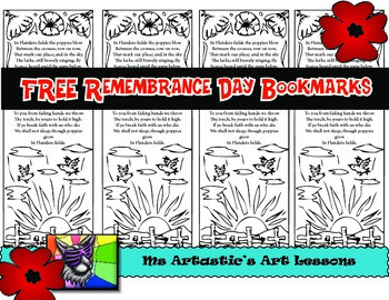 Remembrance Day Colouring Bookmarks