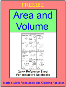 FREE DOWNLOADS:  AREA AND VOLUME - REFERENCE SHEET FOR INTERACTIVE NOTEBOOKS
