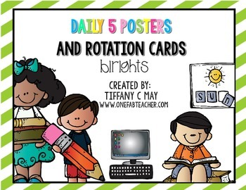 FREE Daily 5 Bright Rotation Cards
