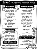 FREE Daily 5 Menu  / Literacy Station Ideas Printable