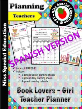 FREE - Daily Planner -Teachers and School Staff - English & Spanish -Love Books