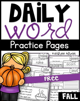 FREE Daily Word Practice Pages - Fall