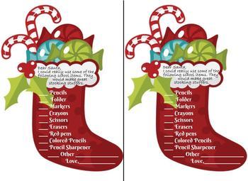 FREE!!! Dear Santa Stocking Stuffer School Supplies