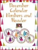 FREE December Calendar Numbers and Header