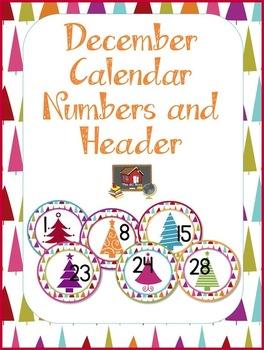 FREE December Calendar Numbers and Header