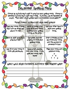 FREE December Spelling Menu