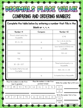 FREE Decimals Place Value Quiz or Review