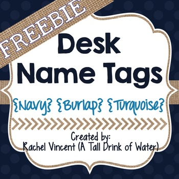 FREE Desk Name Tags {Navy Decor}