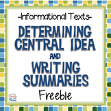 Nonfiction - Central Idea and Writing Summaries {FREE}