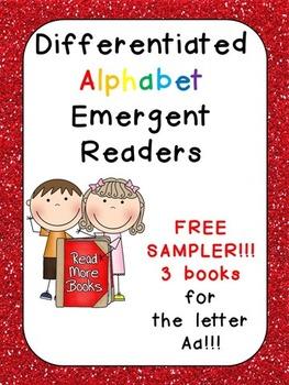 FREE Differentiated Alphabet Emergent Readers for Letter Aa- Kindergarten