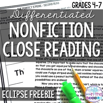 FREE Eclipses Differentiated Close Reading Texts and Activities