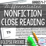 FREE Eclipse Differentiated Close Reading Comprehension Passage and Questions