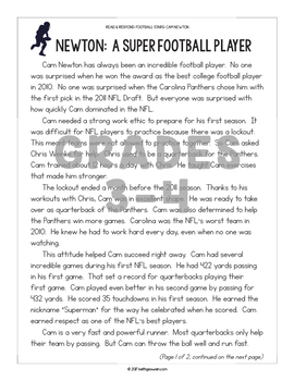 FREE Differentiated Paired Texts: Cam Newton and Russell Wilson (Grades 1-6)