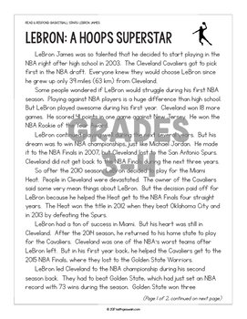 FREE Differentiated Paired Texts: LeBron James and Steph Curry (Grades 1-6)