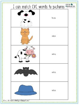 FREE Differienated Literacy (CVC words) Centers or Task Boxes