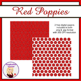 FREE Digital Papers - Red Poppies - ANZAC Day/ Remembrance Day