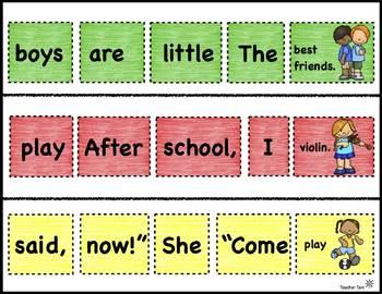 Digital Scrambled Sight Word Sentences: Back to School Theme